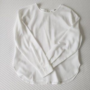 Uniqlo White Rayon Button Blouse